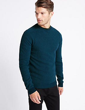 Pure Cotton Textured Crew Neck, TEAL MIX, catlanding