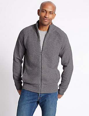 Pure Cotton Textured Jumper, SILVER GREY, catlanding