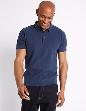 Pure Cotton Textured Polo Shirt, DENIM, catlanding