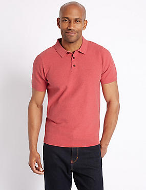 Pure Cotton Textured Polo Shirt, POPPY, catlanding