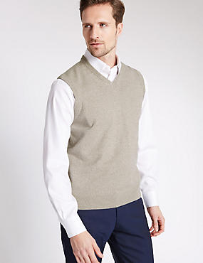 Pure Cotton Slipover Jumper, STONE MIX, catlanding