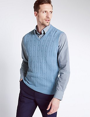 Pure Cotton Textured Slipover Jumper, CHAMBRAY, catlanding