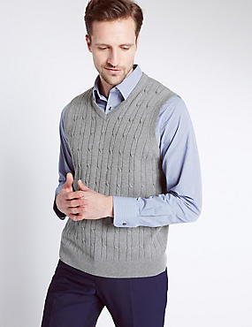 Pure Cotton Textured V-Neck Jumper, GREY, catlanding