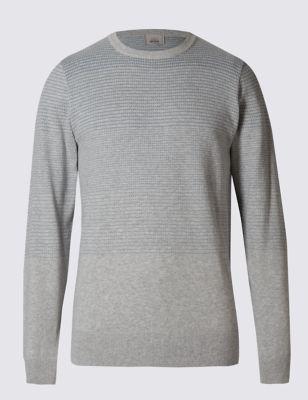 Текстурный джемпер из чистого хлопка в пунктирную полоску M&S Collection T302763M