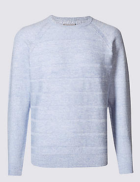 Cotton Rich Striped Jumper, ICE BLUE, catlanding