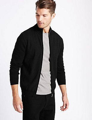 Pure Cotton Textured Cardigan , BLACK MIX, catlanding