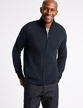 Textured Zipped Through Cardigan, NAVY, catlanding