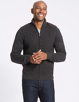 Textured Zipped Through Cardigan, GREY, catlanding