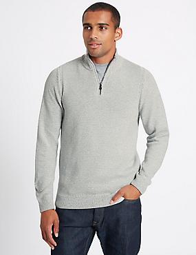 Cotton Rich Textured Half Zipped Jumper, WINTER WHITE, catlanding