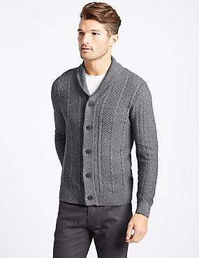 Cotton Rich Textured Cardigan, GREY, catlanding