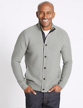 Pure Cotton Zip Through Cardigan, LIGHT GREY, catlanding