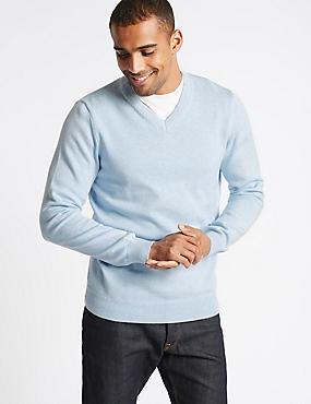 Pure Cotton V-Neck Jumper, LIGHT BLUE, catlanding