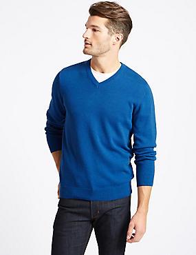 Pure Cotton V-Neck  Jumper, BRIGHT BLUE, catlanding