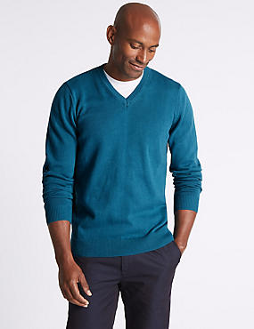 Pure Cotton V-Neck  Jumper, TEAL, catlanding