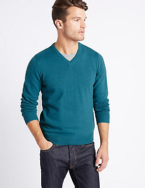Pure Cotton V-Neck  Jumper, DARK TEAL, catlanding