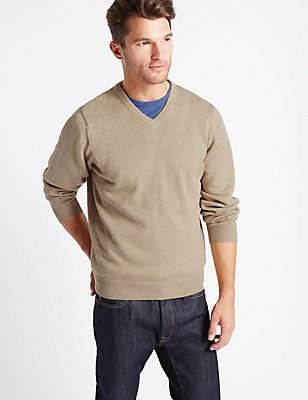 Pure CottonV-Neck  Jumper, NATURAL MIX, catlanding