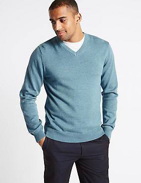 Pure Cotton V-Neck Jumper, SMOKEY BLUE, catlanding