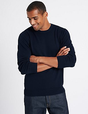 Pure Cotton Crew Neck  Jumper, INDIGO, catlanding