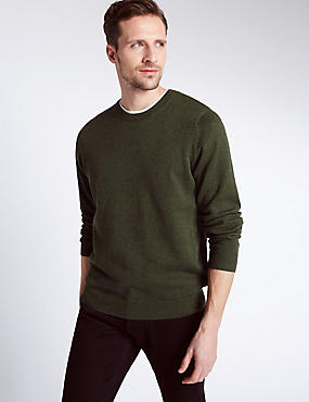 Pure Cotton Jumper, DARK GREEN MIX, catlanding