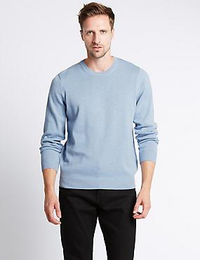 Pure Cotton Crew Neck Jumper, CHAMBRAY, catlanding