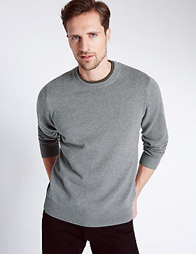 Pure Cotton Crew Neck Jumper, MEDIUM GREY MIX, catlanding