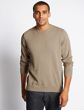Pure Cotton Crew Neck Jumper, NATURAL MIX, catlanding