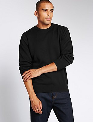 Pure Cotton Crew Neck Jumper, BLACK, catlanding