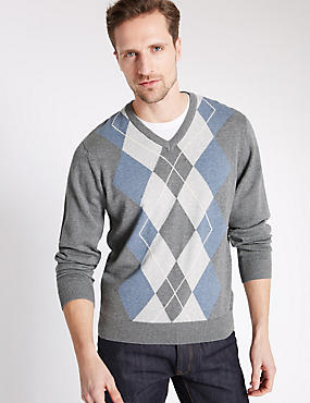 Pure Cotton Argyle Jumper, GREY MIX, catlanding