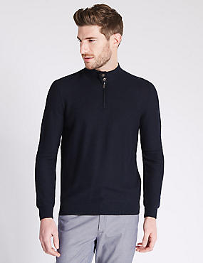 Tailored Fit Half Zip Jumper with Merino Wool, NAVY, catlanding