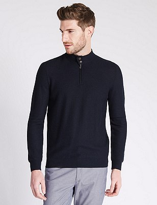Tailored Fit Half Zip Jumper with Merino Wool, NAVY, catlanding
