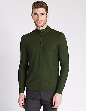 Tailored Fit Half Zip Jumper with Merino Wool, KHAKI MIX, catlanding