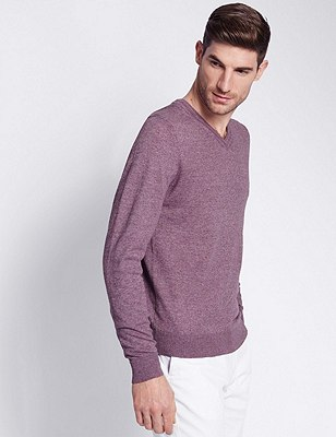 Tailored Fit V-Neck Jumper with Linen, MAUVE, catlanding