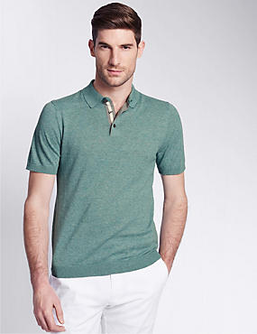 Tailored Fit Knitted Polo Shirt with Linen