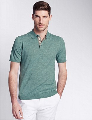 Tailored Fit Knitted Polo Shirt with Linen, JADE, catlanding