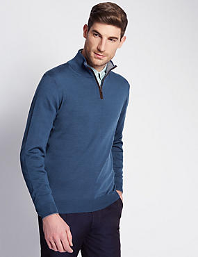Merino Wool Rich Tailored Fit Jumper with Silk