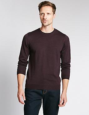 Merino Wool Rich Slim Fit Jumper with Silk, AUBERGINE, catlanding