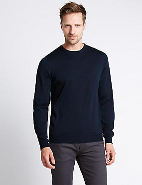 Merino Wool Rich Slim Fit Jumper with Silk, NAVY, catlanding