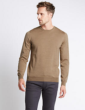 Merino Wool Rich Slim Fit Jumper with Silk, , catlanding
