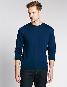 Merino Wool Rich Slim Fit Jumper with Silk, DARK MARINE, catlanding