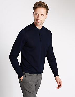 Merino Wool Blend Slim Fit Polo Shirt, NAVY, catlanding