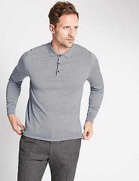 Merino Wool Blend Slim Fit Polo Shirt, GREY, catlanding