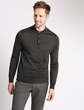 Merino Wool Blend Slim Fit Polo Shirt, CHARCOAL, catlanding
