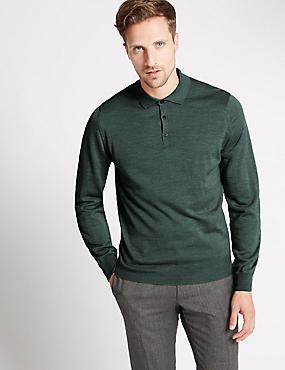 Merino Wool Blend Slim Fit Polo Shirt, GREEN MARL, catlanding