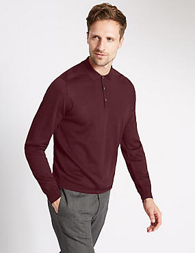 Merino Wool Blend Slim Fit Polo Shirt, BURGUNDY, catlanding