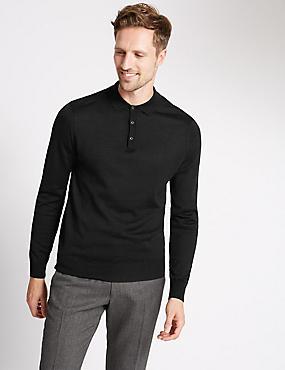 Merino Wool Blend Slim Fit Polo Shirt, BLACK, catlanding