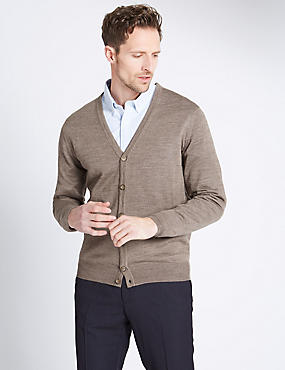 Merino Wool Blend Tailored Fit Cardigan, MOCHA, catlanding