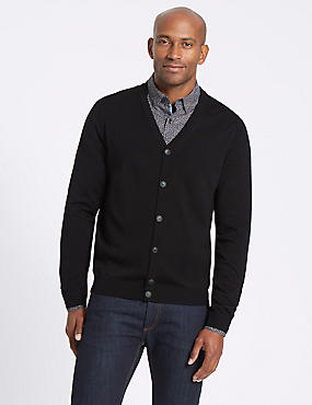 Merino Wool Blend Tailored Fit Cardigan, BLACK C, catlanding