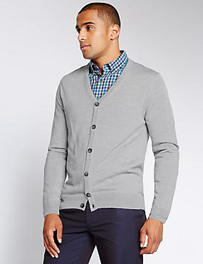 Merino Wool Blend Tailored Fit Cardigan, LIGHT GREY, catlanding