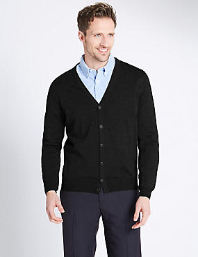 Merino Wool Blend Tailored Fit Cardigan, BLACK MIX, catlanding