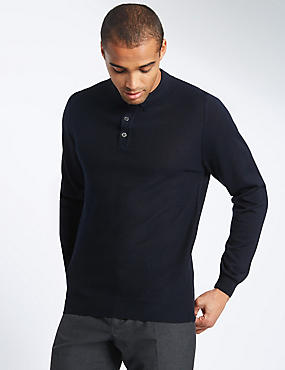 Merino Wool Blend Tailored Fit Jumper, NAVY, catlanding